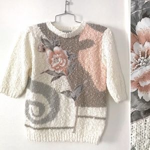 Vintage 1980's sweater blush rose pearl appliqué